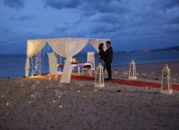 Kumsalda Romantik Evlilik Teklifi Organizasyonu Kuşadası