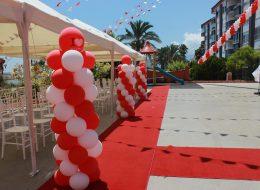 Dikme Balon Süsleme ve Kırmızı Halı Kiralama Açılış Organizasyonu Finike